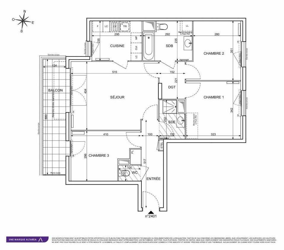 Plan 2401, appartement neuf type T4 au 4ème étage, orienté Sud faisant 79m² du programme neuf 18 RUE CHARLES MARTIGNY à Maisons-Alfort.