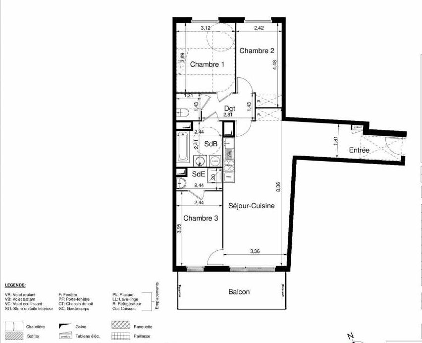 Plan 2401, appartement neuf type T4 au 4ème étage, orienté Sud faisant 82m² du programme neuf LES JARDINS D'ARGELIES BÂTIMENT 1 ET 2 à Juvisy-sur-Orge.