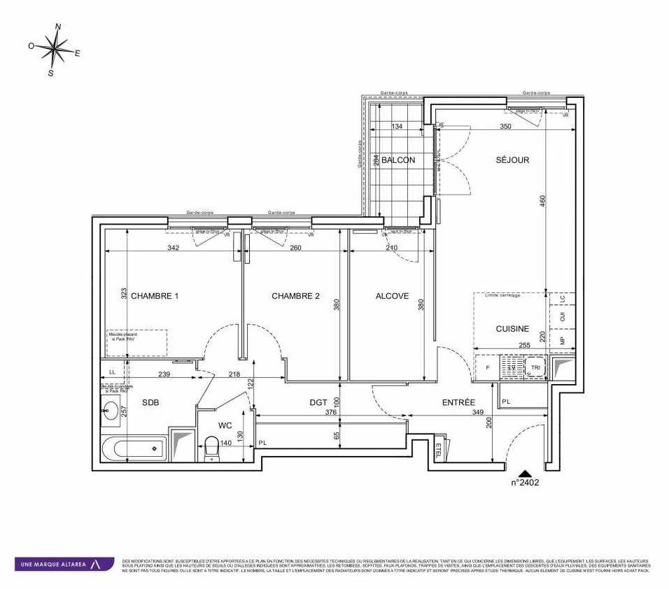 Plan 2402, appartement neuf type T3 au 4ème étage, orienté Sud faisant 74m² du programme neuf 18 RUE CHARLES MARTIGNY à Maisons-Alfort.