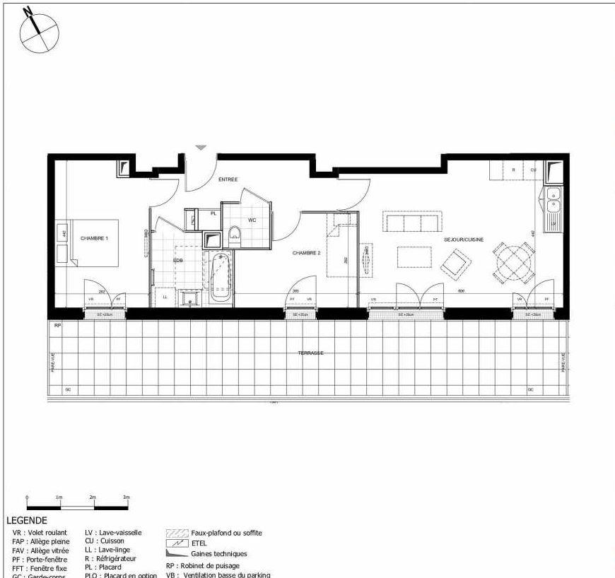 Plan 2403, appartement neuf type T3 au 4ème étage, orienté Sud faisant 62m² du programme neuf 11ÈME AVENUE ACCESSION à Eaubonne.