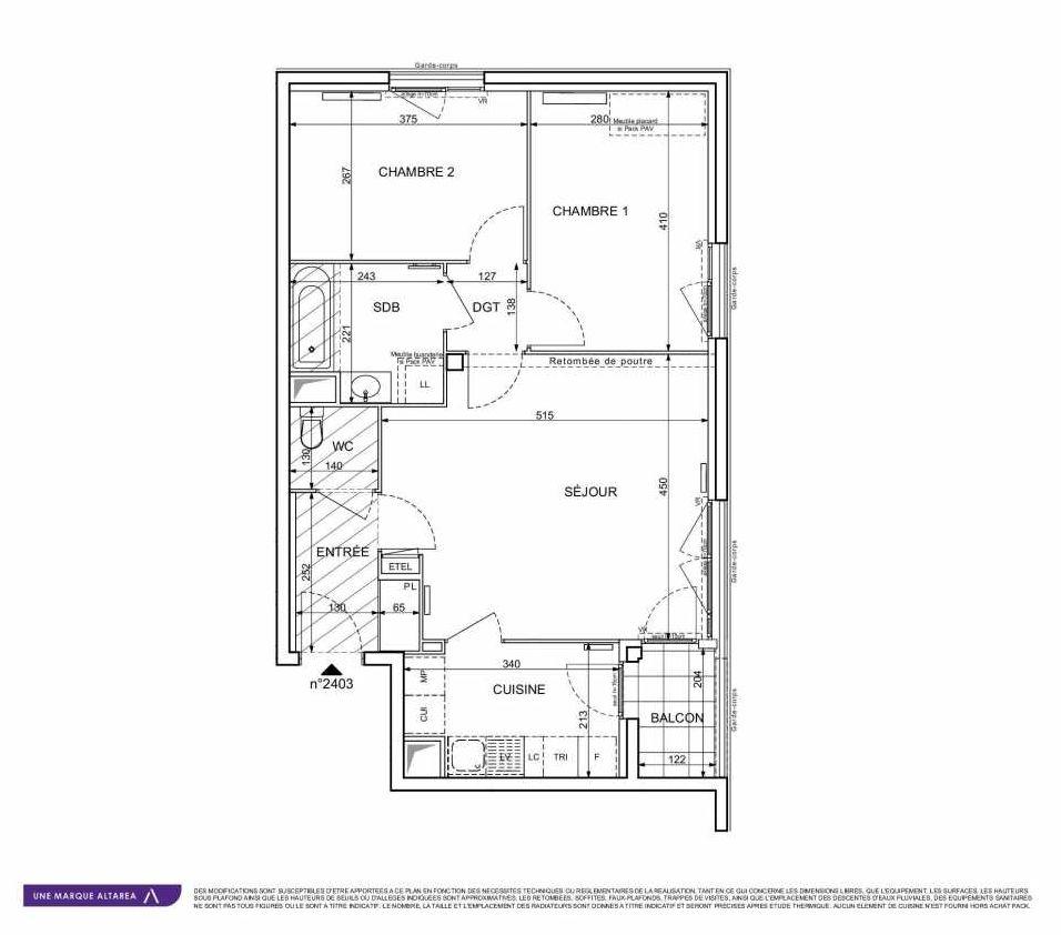 Plan 2403, appartement neuf type T3 au 4ème étage, orienté Est faisant 62m² du programme neuf 18 RUE CHARLES MARTIGNY à Maisons-Alfort.