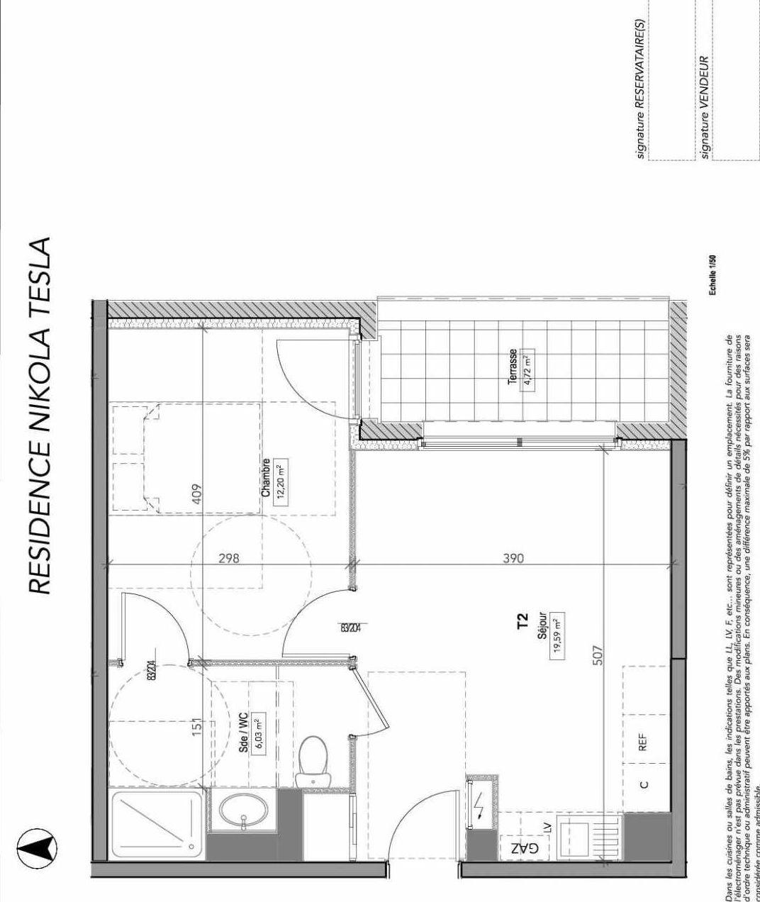 Plan 2403, appartement neuf type T4 au 4ème étage, orienté Sud faisant 85m² du programme neuf GREEN LUX VENTE ED BAT 2 à Tours.