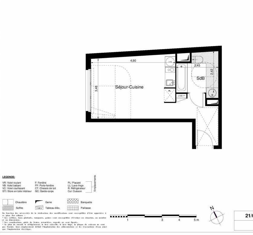 Plan 2403, appartement neuf type T1 au 4ème étage, orienté Ouest faisant 28m² du programme neuf LES JARDINS D'ARGELIES BÂTIMENT 1 ET 2 à Juvisy-sur-Orge.