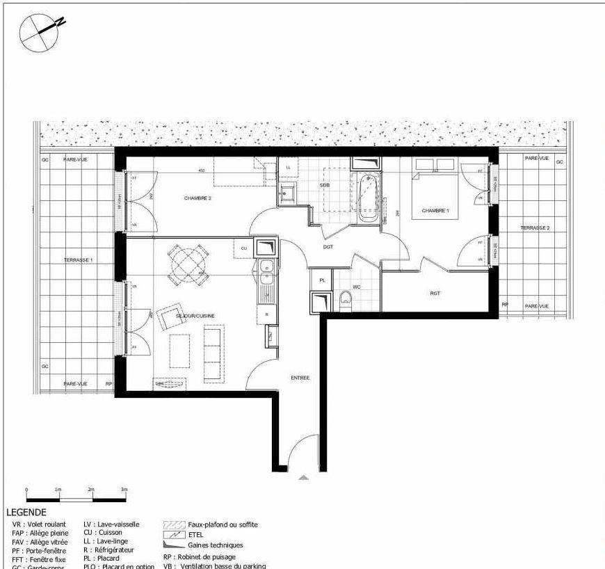 Plan 2404, appartement neuf type T3 au 4ème étage, orienté Sud faisant 65m² du programme neuf 11ÈME AVENUE ACCESSION à Eaubonne.