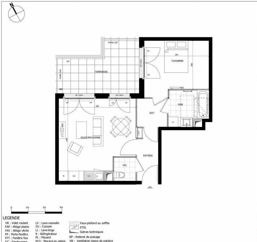 Plan 2405, appartement neuf type T2 au 4ème étage, orienté Est faisant 45m² du programme neuf 11ÈME AVENUE ACCESSION à Eaubonne.