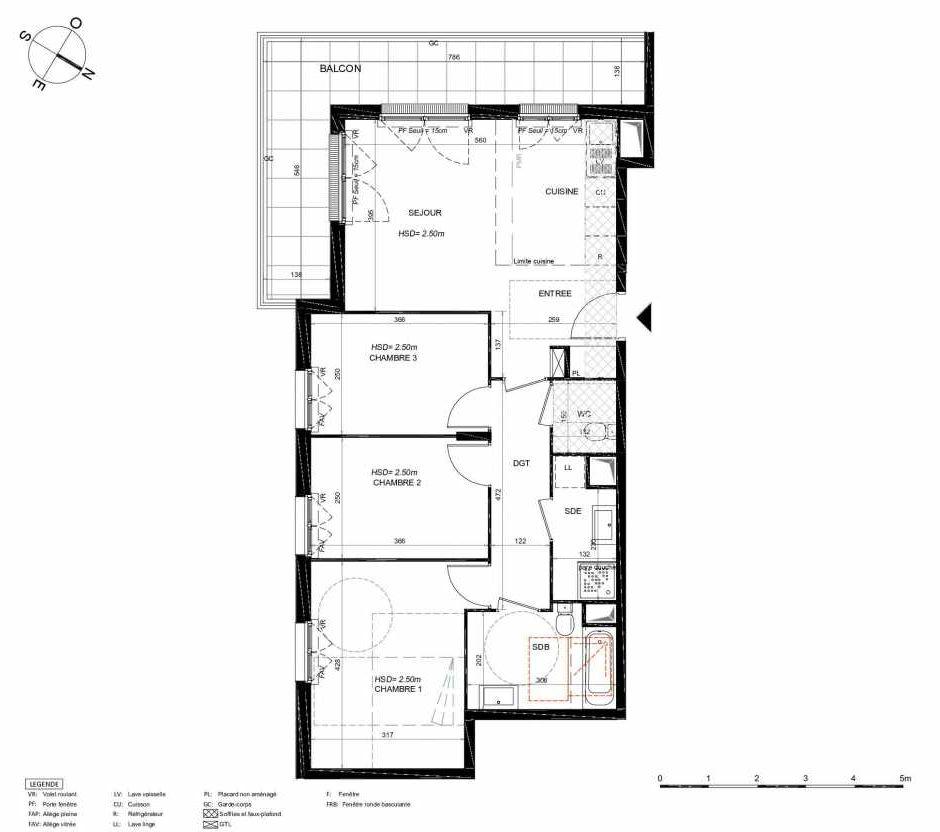 Plan 241, appartement neuf type T4 au 4ème étage, orienté Sud faisant 75m² du programme neuf LES JARDINS BALZAC BAT 3 à Argenteuil.