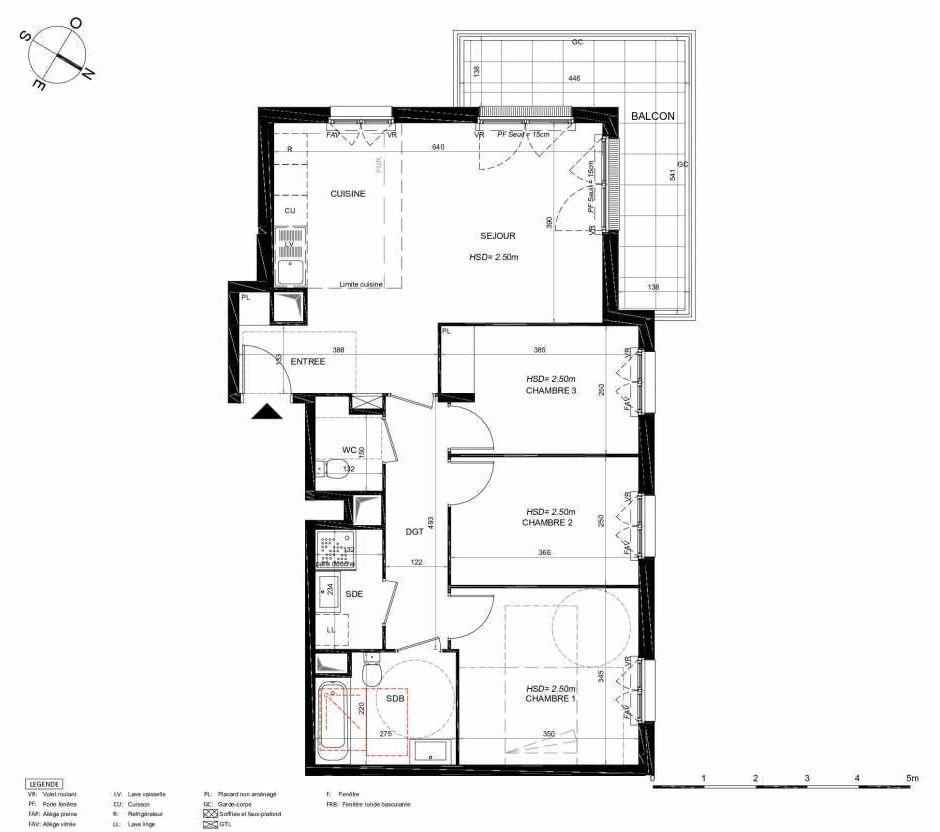 Plan 242, appartement neuf type T4 au 4ème étage, orienté Nord faisant 78m² du programme neuf LES JARDINS BALZAC BAT 3 à Argenteuil.