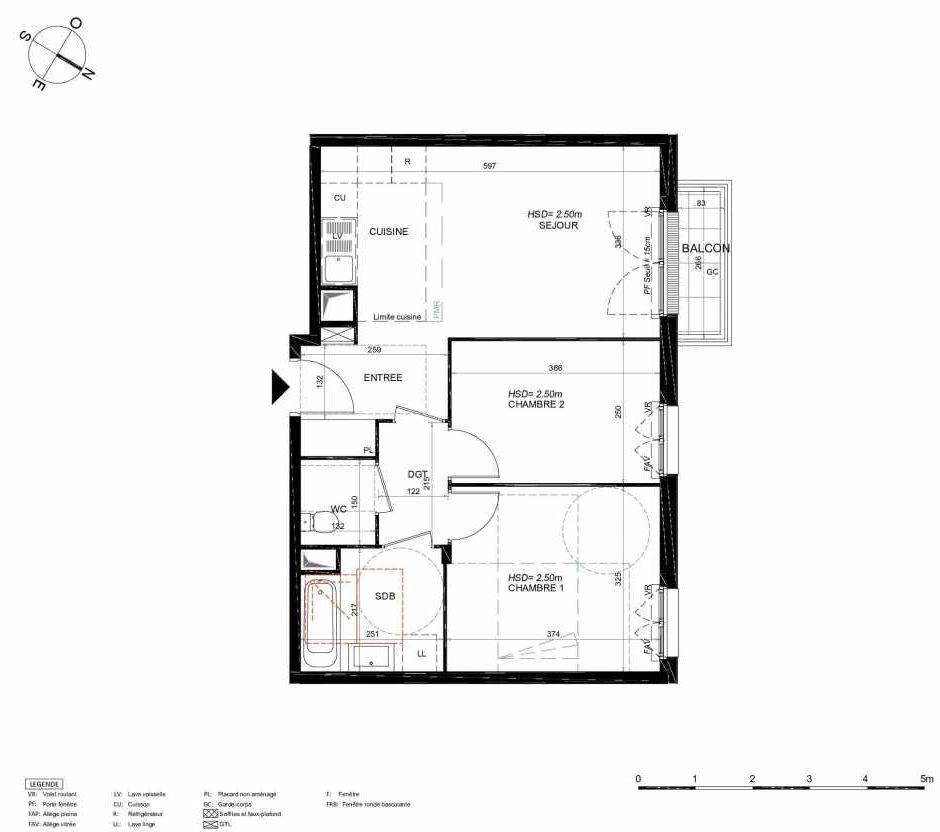 Plan 243, appartement neuf type T3 au 4ème étage, orienté Nord faisant 55m² du programme neuf LES JARDINS BALZAC BAT 3 à Argenteuil.
