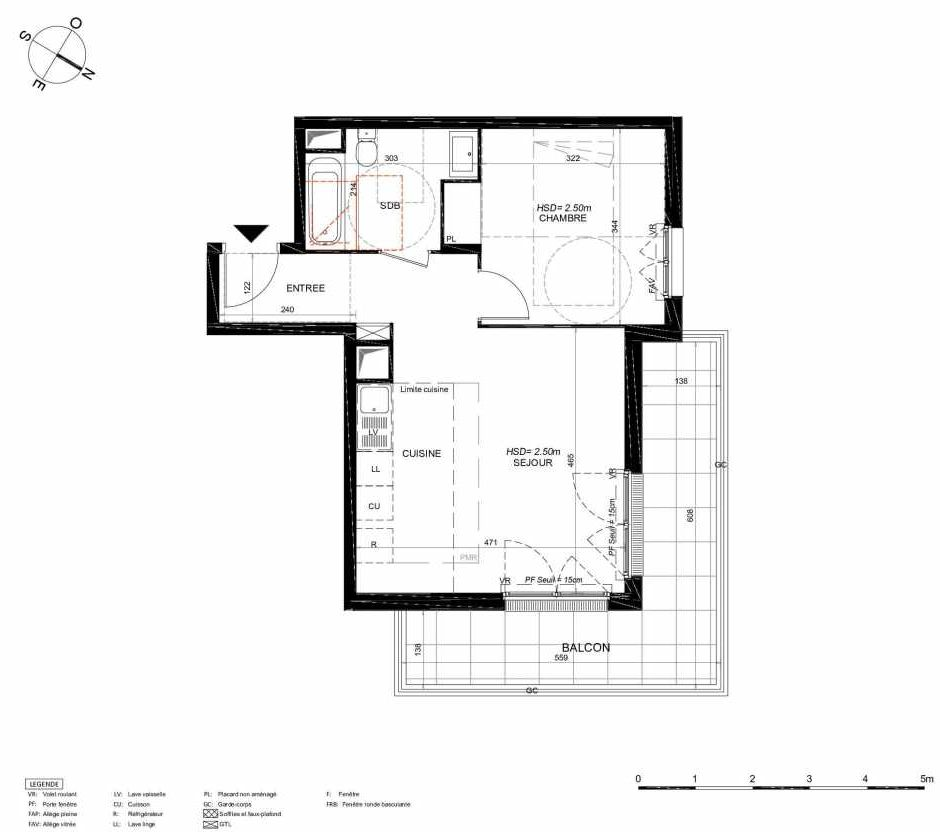 Plan 244, appartement neuf type T2 au 4ème étage, orienté Nord faisant 44m² du programme neuf LES JARDINS BALZAC BAT 3 à Argenteuil.