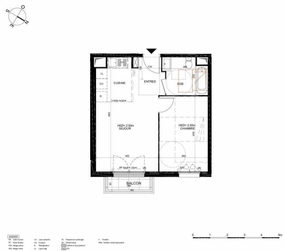 Plan 246, appartement neuf type T2 au 4ème étage, orienté Nord faisant 42m² du programme neuf LES JARDINS BALZAC BAT 3 à Argenteuil.