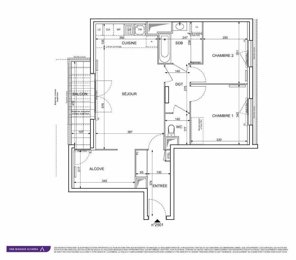 Plan 2501, appartement neuf type T3 au 5ème étage, orienté Sud faisant 71m² du programme neuf 18 RUE CHARLES MARTIGNY à Maisons-Alfort.