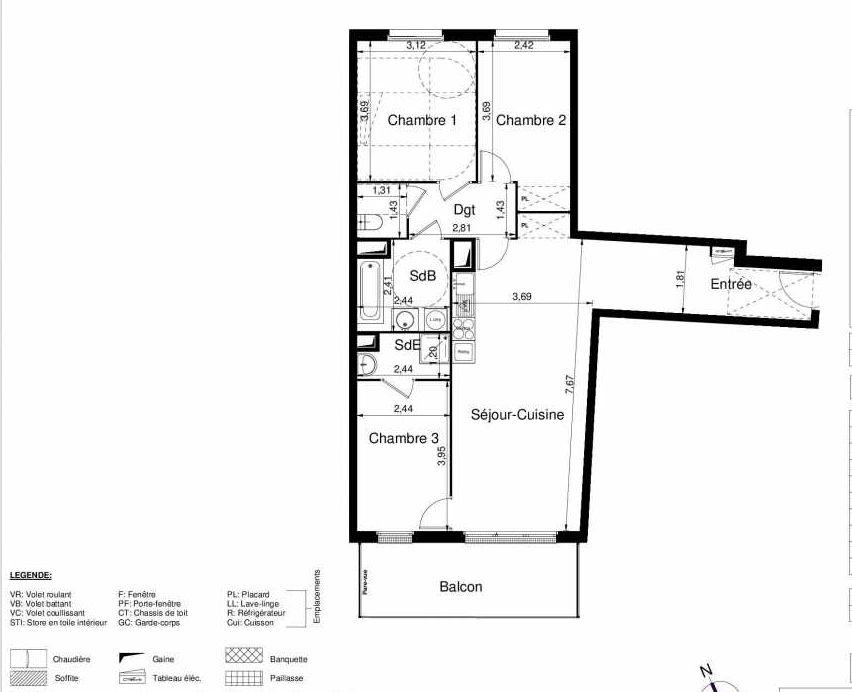 Plan 2501, appartement neuf type T4 au 5ème étage, orienté Sud faisant 82m² du programme neuf LES JARDINS D'ARGELIES BÂTIMENT 1 ET 2 à Juvisy-sur-Orge.
