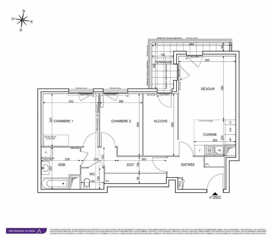 Plan 2502, appartement neuf type T3 au 5ème étage, orienté Sud faisant 71m² du programme neuf 18 RUE CHARLES MARTIGNY à Maisons-Alfort.
