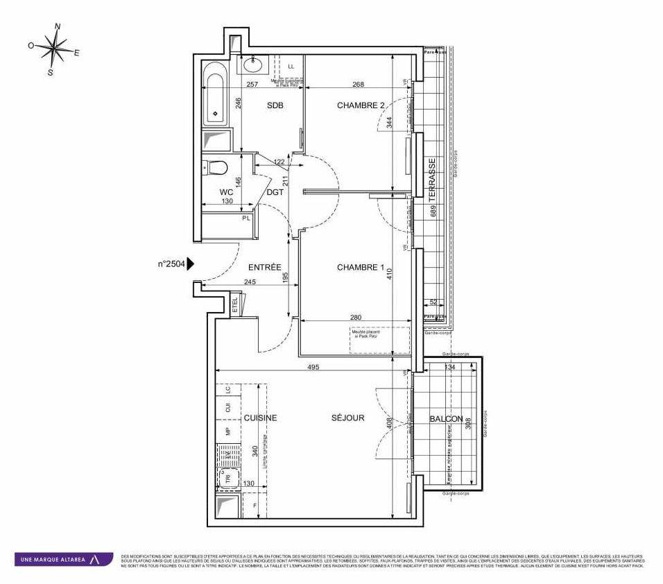 Plan 2504, appartement neuf type T3 au 5ème étage, orienté Est faisant 58m² du programme neuf 18 RUE CHARLES MARTIGNY à Maisons-Alfort.