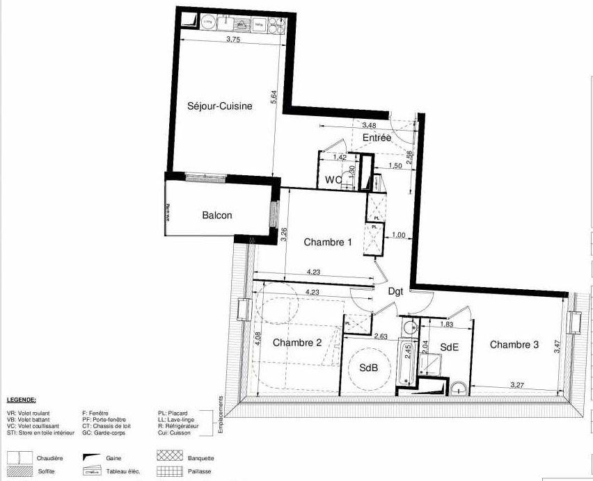Plan 2505, appartement neuf type T4 au 5ème étage, orienté Sud faisant 86m² du programme neuf LES JARDINS D'ARGELIES BÂTIMENT 1 ET 2 à Juvisy-sur-Orge.
