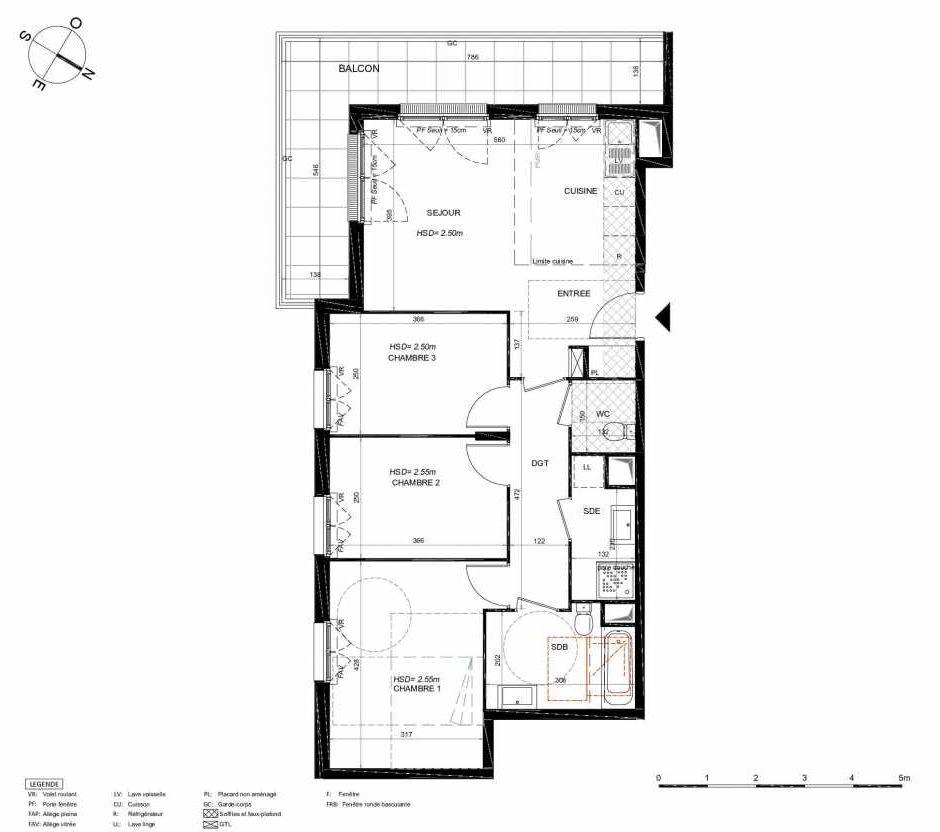 Plan 251, appartement neuf type T4 au 5ème étage, orienté Sud faisant 75m² du programme neuf LES JARDINS BALZAC BAT 3 à Argenteuil.