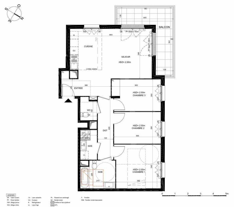 Plan 252, appartement neuf type T4 au 5ème étage, orienté Nord faisant 78m² du programme neuf LES JARDINS BALZAC BAT 3 à Argenteuil.
