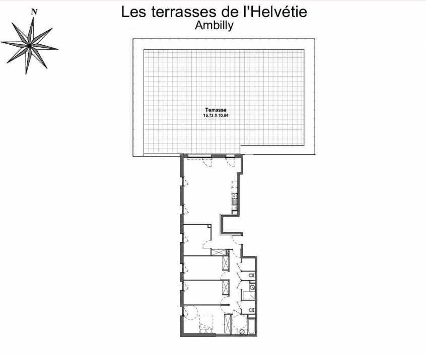 Plan 253, appartement neuf type T5 au 5ème étage, faisant 112m² du programme neuf Les Terrasses de l'Helvétie à Ambilly.