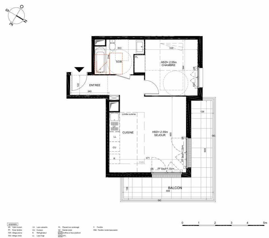 Plan 254, appartement neuf type T2 au 5ème étage, orienté Nord faisant 44m² du programme neuf LES JARDINS BALZAC BAT 3 à Argenteuil.