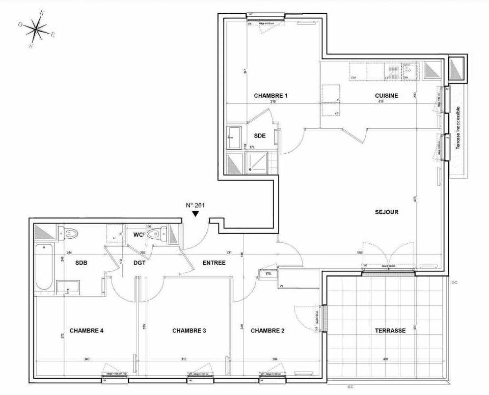 Plan 261, appartement neuf type T5 au 6ème étage, orienté Sud faisant 95m² du programme neuf L'Intemporel à Thiais.