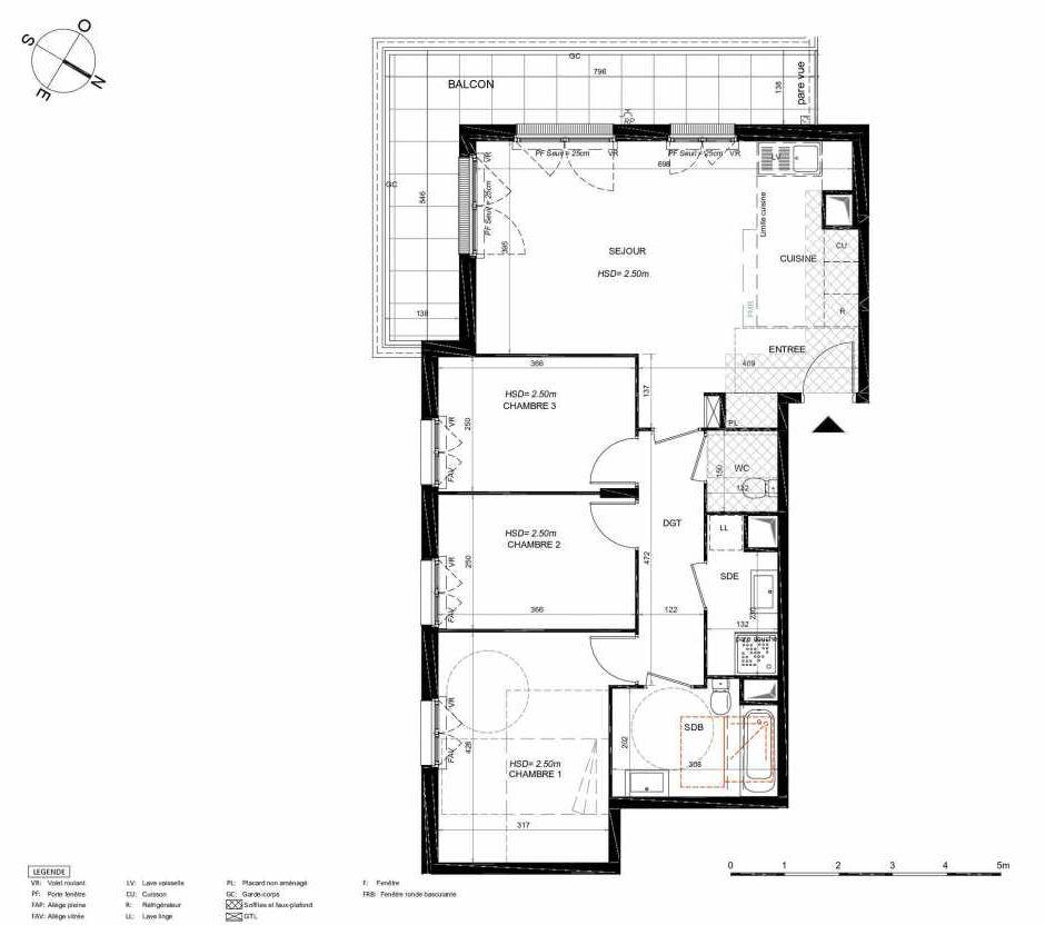 Plan 261, appartement neuf type T4 au 6ème étage, orienté Sud faisant 81m² du programme neuf LES JARDINS BALZAC BAT 3 à Argenteuil.