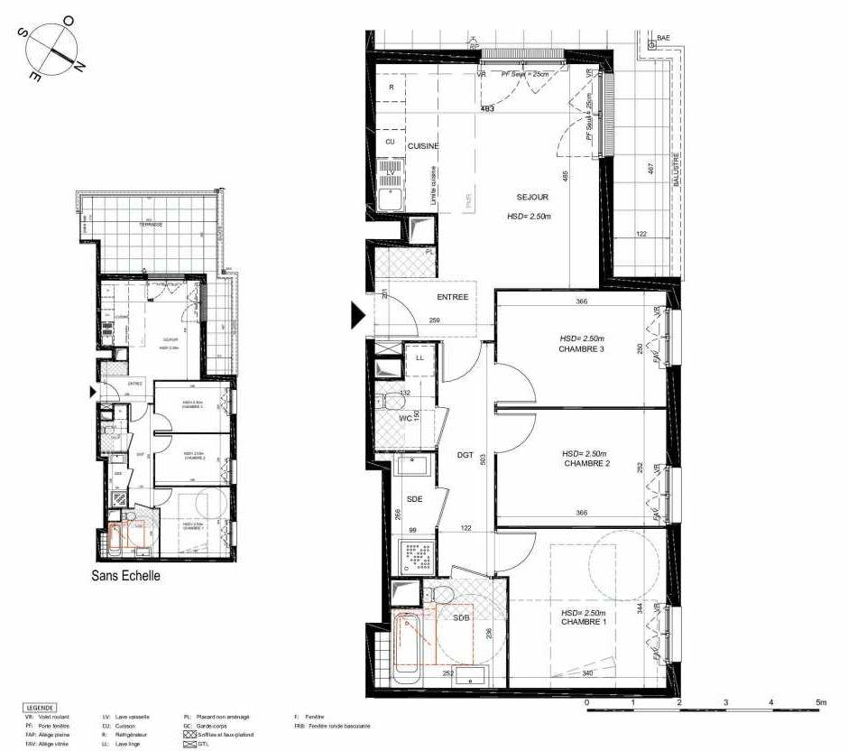 Plan 262, appartement neuf type T4 au 6ème étage, orienté Nord faisant 73m² du programme neuf LES JARDINS BALZAC BAT 3 à Argenteuil.