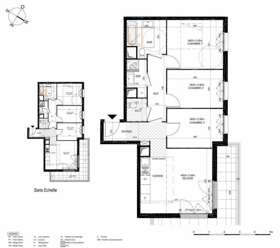 Plan 263, appartement neuf type T4 au 6ème étage, orienté Nord faisant 71m² du programme neuf LES JARDINS BALZAC BAT 3 à Argenteuil.