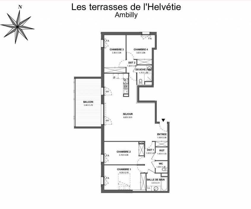 Plan 263, appartement neuf type T5 au 6ème étage, faisant 112m² du programme neuf Les Terrasses de l'Helvétie à Ambilly.