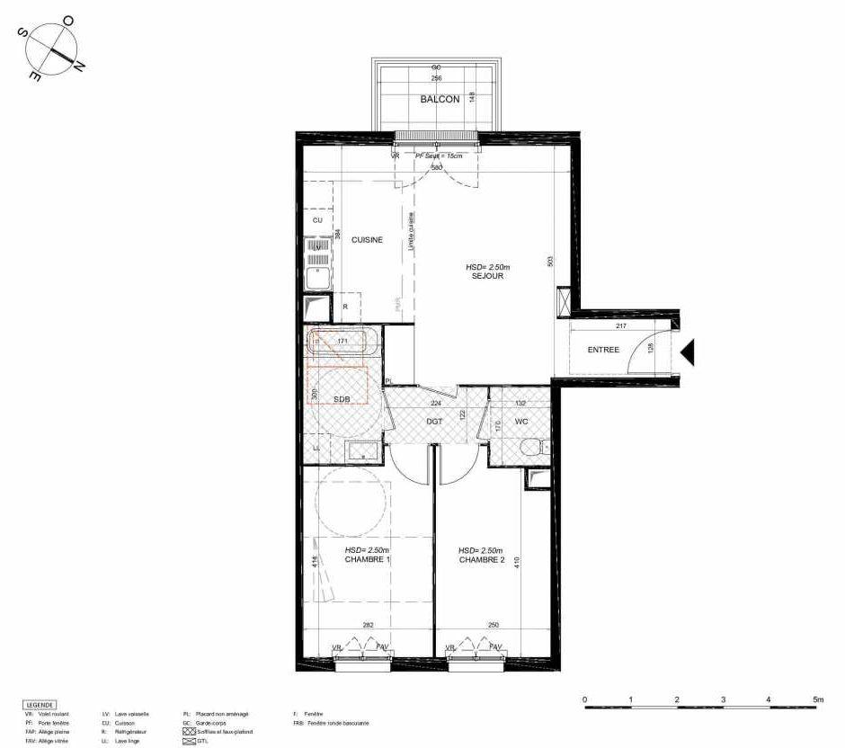 Plan 266, appartement neuf type T3 au 6ème étage, orienté Nord faisant 62m² du programme neuf LES JARDINS BALZAC BAT 3 à Argenteuil.