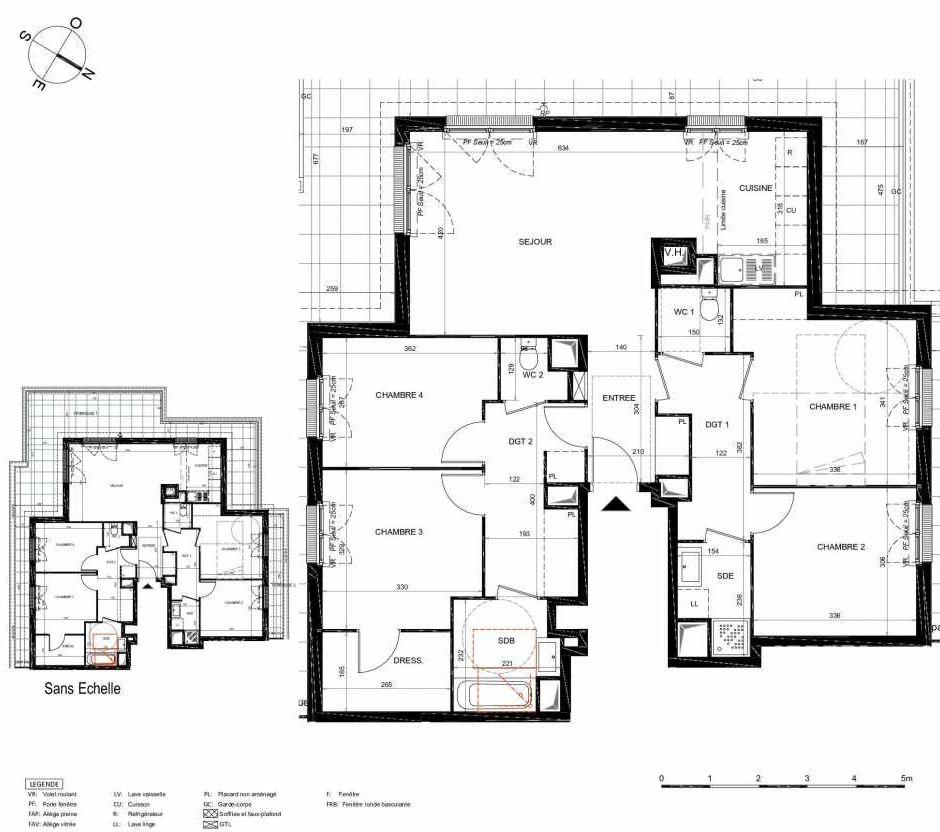Plan 271, appartement neuf type T5 au 7ème étage, orienté Sud faisant 106m² du programme neuf LES JARDINS BALZAC BAT 3 à Argenteuil.
