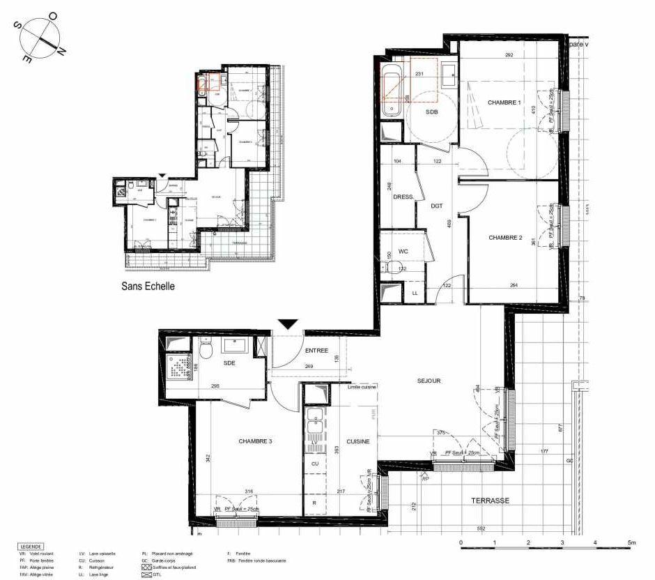 Plan 272, appartement neuf type T4 au 7ème étage, orienté Nord faisant 84m² du programme neuf LES JARDINS BALZAC BAT 3 à Argenteuil.