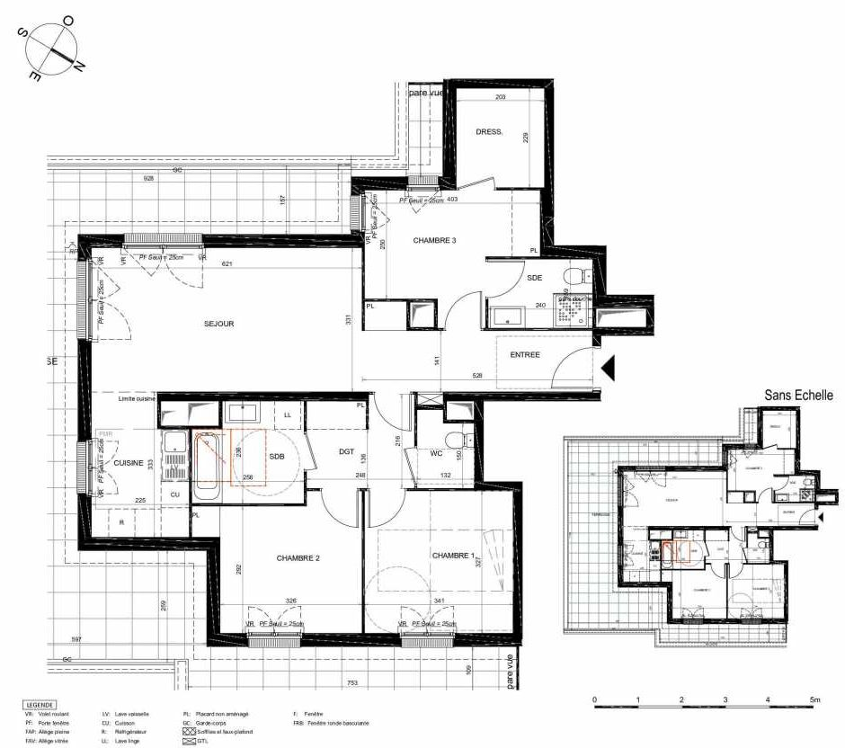 Plan 273, appartement neuf type T4 au 7ème étage, orienté Sud faisant 88m² du programme neuf LES JARDINS BALZAC BAT 3 à Argenteuil.