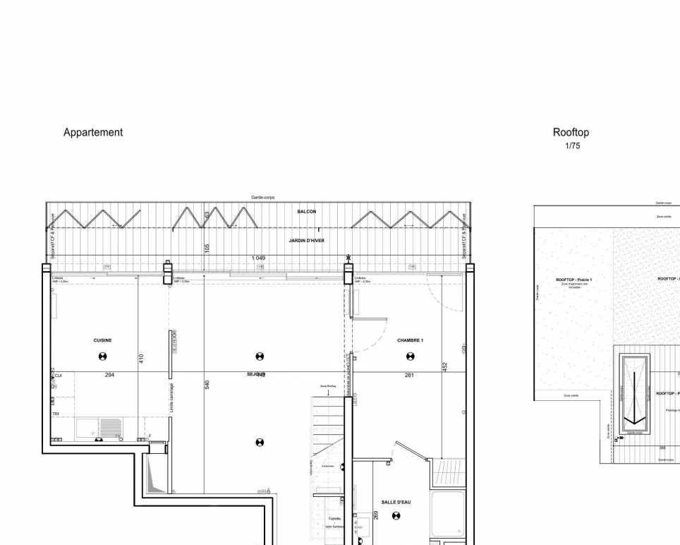 Plan 281, appartement neuf type T5 au 8ème étage, faisant 110m² du programme neuf 122 Damremont à Paris.