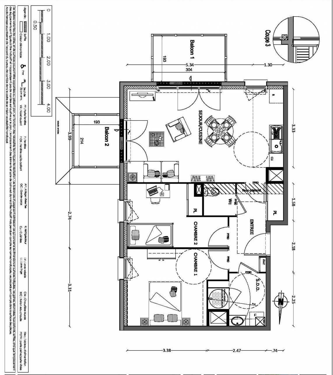 Plan 29, appartement neuf type T3 au 2ème étage, orienté Sud faisant 61m² du programme neuf NOUVELLE VAGUE BATIMENT B - ACCESS 37 LOTS à Benerville-sur-Mer.
