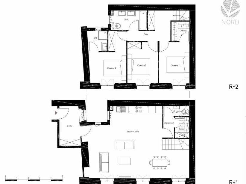 Plan 3, appartement neuf, faisant 103m² du programme neuf 1 Rue Grignan à Marseille.