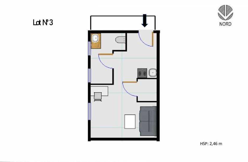 Plan 3, appartement neuf type T1 au Rez de chaussée, faisant 20m² du programme neuf 11 Rue Montmajour à Marseille.