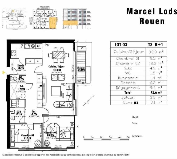 Plan 3, appartement neuf type T3 au 1er étage, faisant 79m² du programme neuf 15 rue Jean-Philippe Rameau à Rouen.