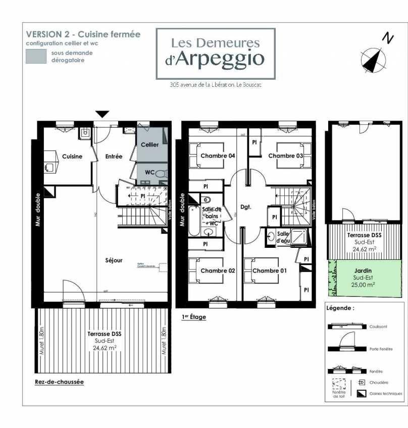 Plan 3, appartement neuf type T5 au Rez de chaussée, orienté Sud faisant 112m² du programme neuf LES DEMEURES D'ARPEGGIO à Le Bouscat.