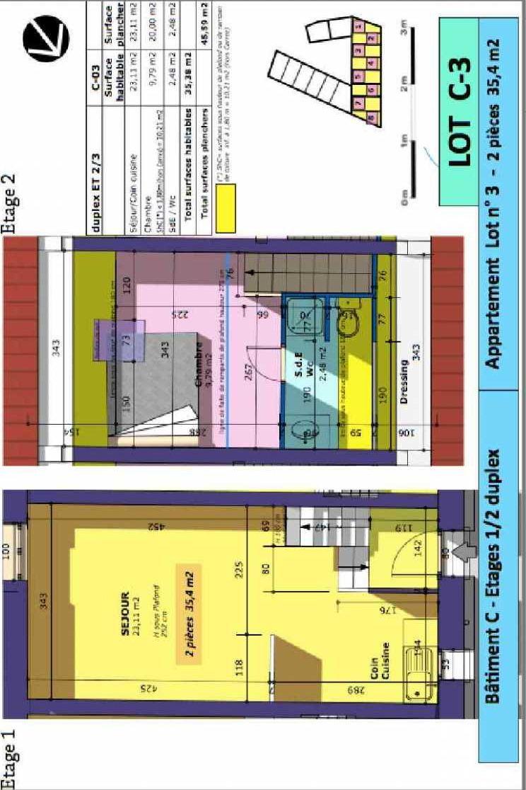 Plan 3, appartement neuf type T2 au 1er étage, faisant 35m² du programme neuf Rue de Gournay - Bat C à Chelles.