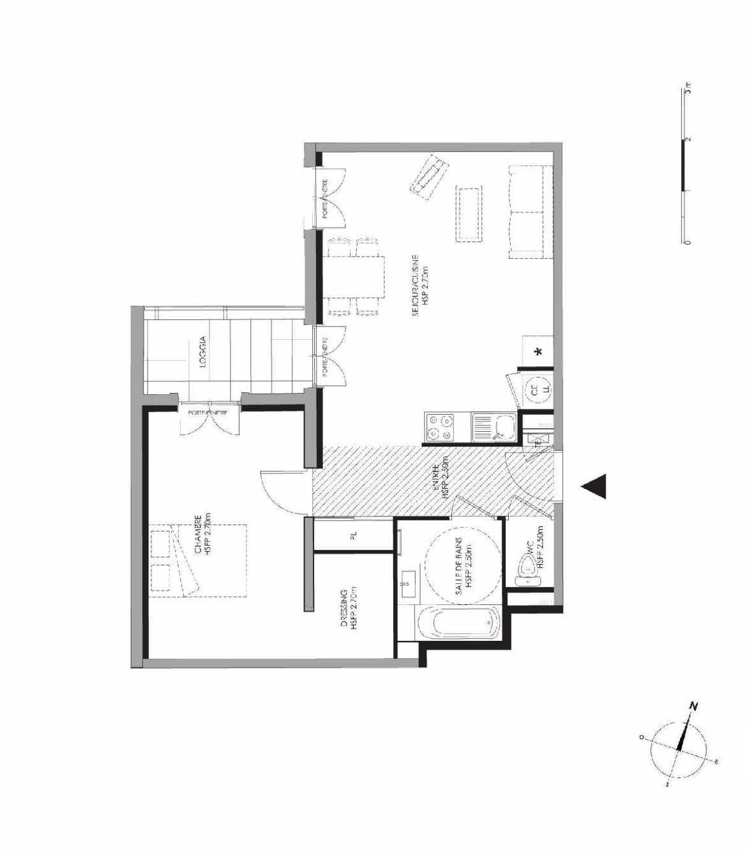 Plan 3.001, appartement neuf type T2 au Rez de chaussée, faisant 55m² du programme neuf LE DOMAINE SAINT-LOUIS à Chalon-sur-Saône.