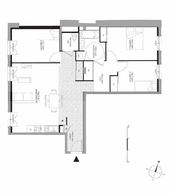 Plan 3.002, appartement neuf type T4 au Rez de chaussée, faisant 85m² du programme neuf LE DOMAINE SAINT-LOUIS à Chalon-sur-Saône.