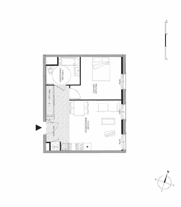 Plan 3.003, appartement neuf type T2 au Rez de chaussée, faisant 43m² du programme neuf LE DOMAINE SAINT-LOUIS à Chalon-sur-Saône.