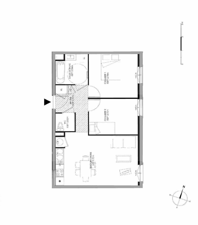 Plan 3.004, appartement neuf type T3 au Rez de chaussée, faisant 55m² du programme neuf LE DOMAINE SAINT-LOUIS à Chalon-sur-Saône.