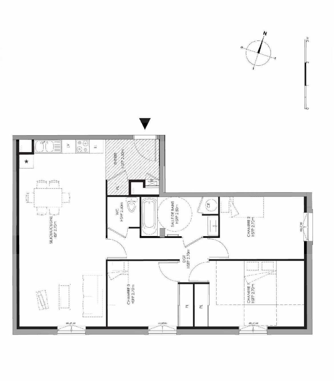 Plan 3.005, appartement neuf type T4 au Rez de chaussée, faisant 81m² du programme neuf LE DOMAINE SAINT-LOUIS à Chalon-sur-Saône.