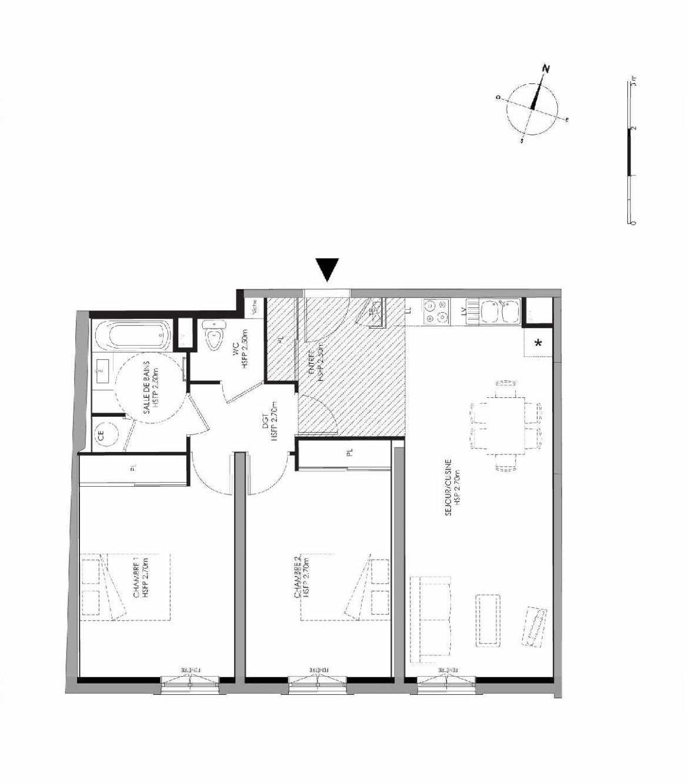 Plan 3.006, appartement neuf type T3 au Rez de chaussée, faisant 72m² du programme neuf LE DOMAINE SAINT-LOUIS à Chalon-sur-Saône.