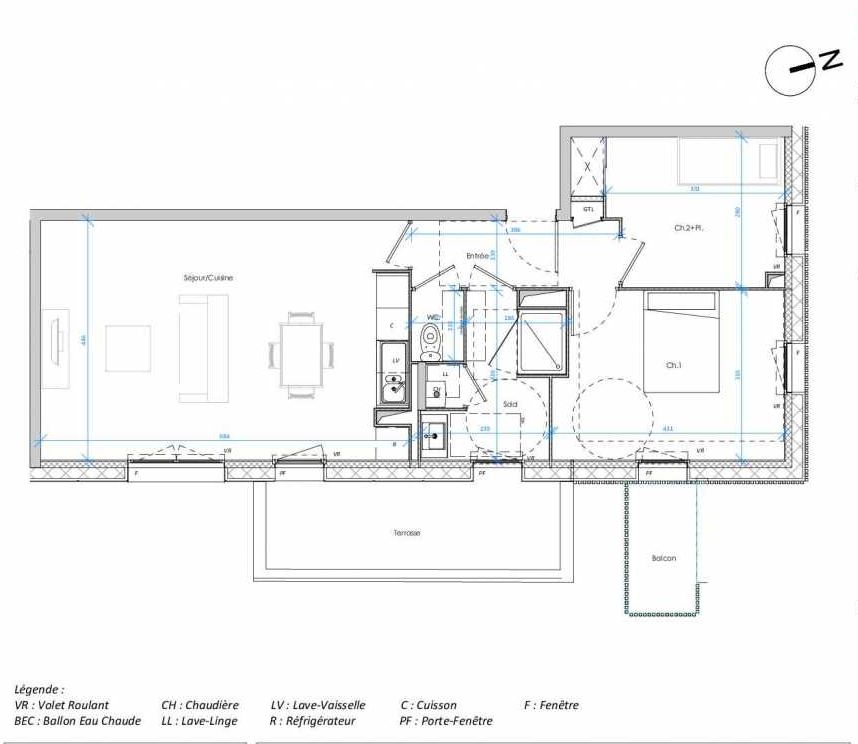 Plan 3.01, appartement neuf type T3 au 3ème étage, orienté Est faisant 65m² du programme neuf Les Jardins des Docks à Le Havre.