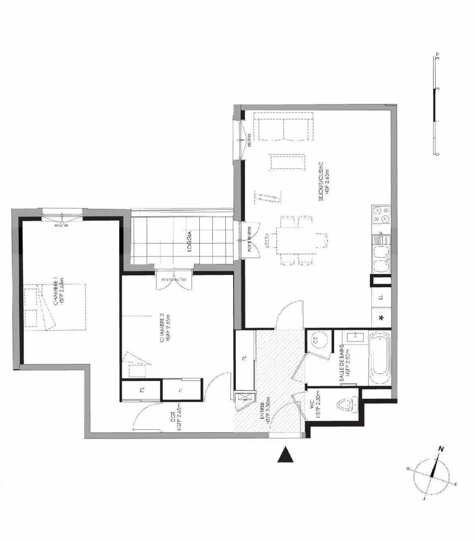Plan 3.101, appartement neuf type T3 au 1er étage, faisant 72m² du programme neuf LE DOMAINE SAINT-LOUIS à Chalon-sur-Saône.