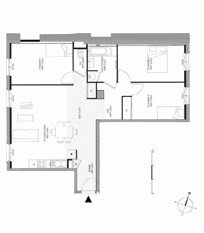 Plan 3.102, appartement neuf type T4 au 1er étage, faisant 84m² du programme neuf LE DOMAINE SAINT-LOUIS à Chalon-sur-Saône.