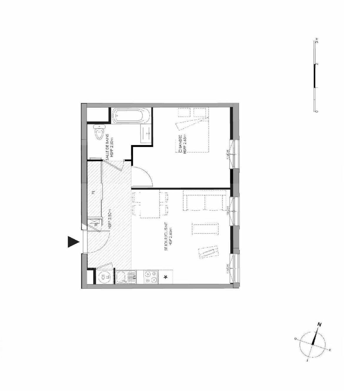 Plan 3.103, appartement neuf type T2 au 1er étage, faisant 42m² du programme neuf LE DOMAINE SAINT-LOUIS à Chalon-sur-Saône.