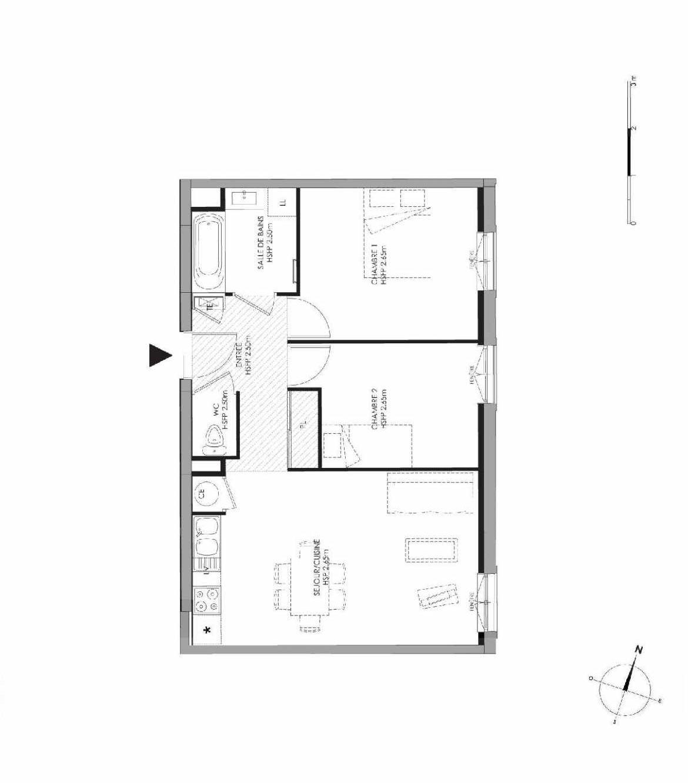 Plan 3.104, appartement neuf type T3 au 1er étage, faisant 55m² du programme neuf LE DOMAINE SAINT-LOUIS à Chalon-sur-Saône.